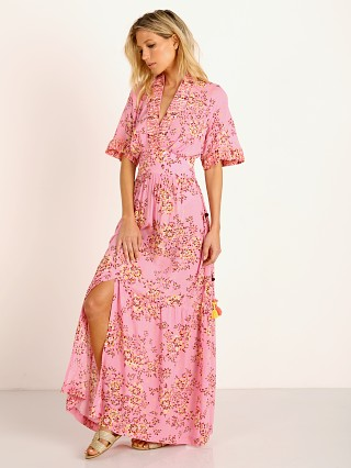 Poupette St. Barth Long Dress Rachel Kimono Pink Allium