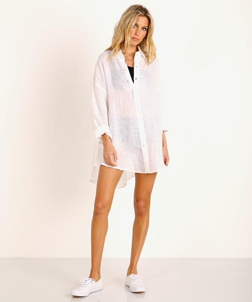 Vitamin A Eco Linen Playa Shirt Dress White