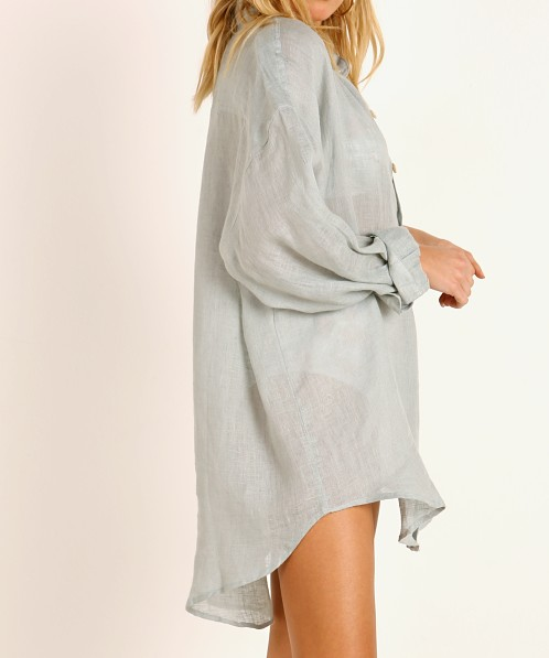 Vitamin A Eco Linen Playa Shirt Dress Sea Green