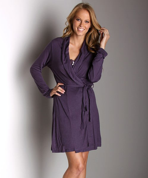 Eberjey Bettina Classic Robe Plum