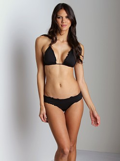 Vitamin A Silver Rio Ruffle Scoop Bikini Bottom Jet Black
