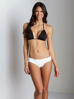 Vitamin A Silver Rio Ruffle Scoop Bikini Bottom White Hot