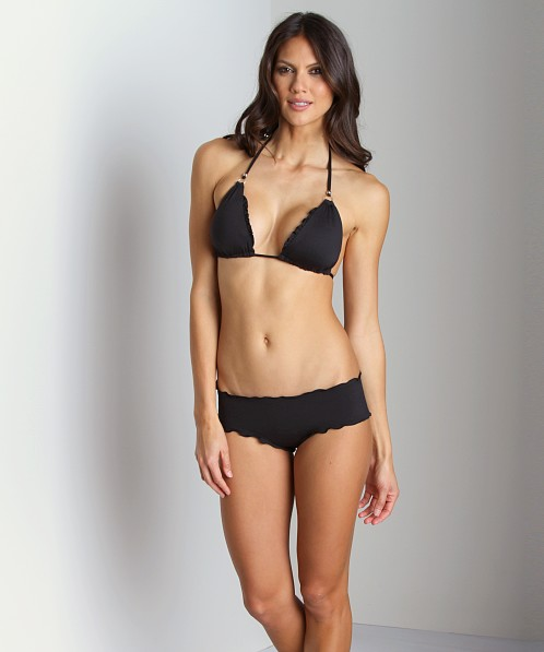 CA by Vitamin A Rio Ruffle Hotpant Bikini Bottom Jet Black