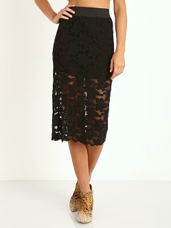 Free People Lace Pencil Skirt Black