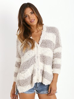 Free People Marshmallow Sweater Cardigan Ivory/Grey