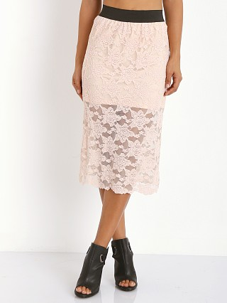 Free People Lace Pencil Skirt Blush