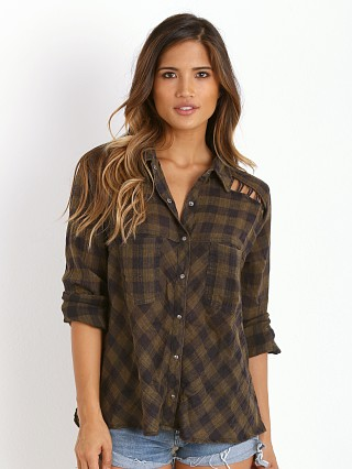 Free People Lace Up Plaid Navy Combo