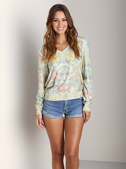 Wildfox Couture Wall Flower V Neck Sweater Floral
