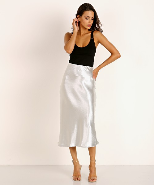 LNA Clothing Shine Bias Skirt Silver