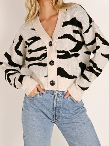 LNA Clothing Boxy Cardigan Sweater Ivory Tiger Jacquard