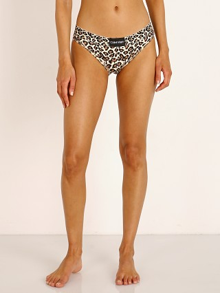 Model in paintbrush cheetah Calvin Klein Animal Micro Bikini