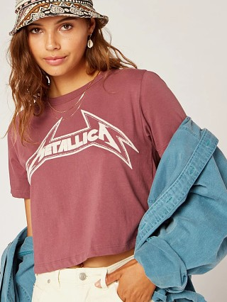 Daydreamer Metallica Young Metal Rebel Crop Tee Mauve