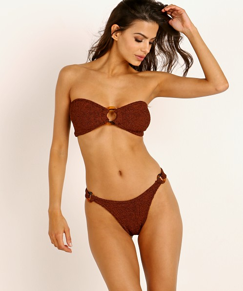 Hunza G Gloria Bikini Set Metallic Bronze with Tortoise Ring