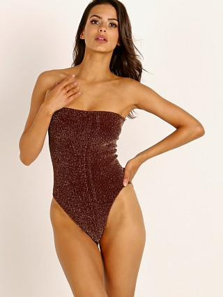 Model in burgundy lurex Hunza G Audrey Bandeau One Piece