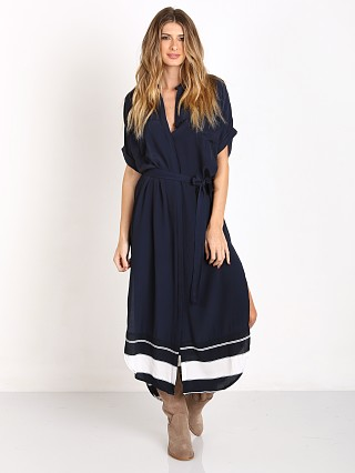 Faithfull the Brand Gigi Shirt Dress Plain Navy/Americana Border