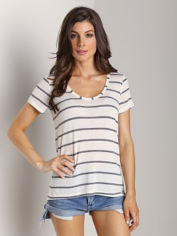 Splendid Brooklyn Striped Drapey Lux Top Bone