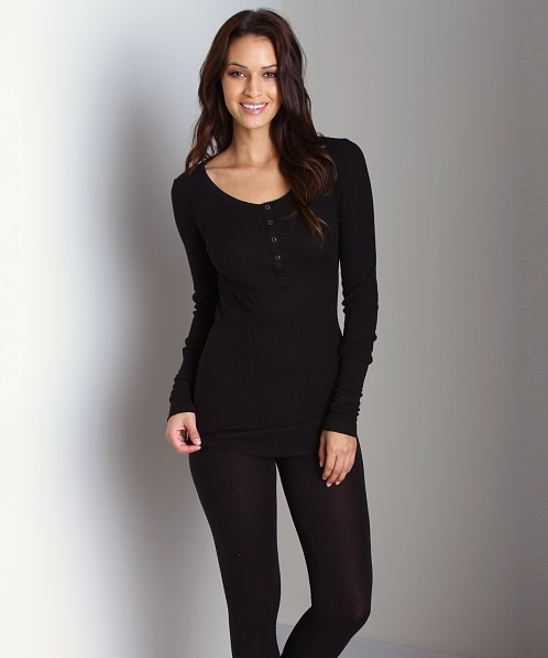 Splendid Thermal Henley Black