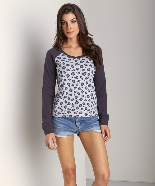 Splendid Leopard Sweater Heather Grey