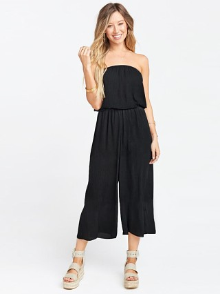 Model in black crinkle gauze Show Me Your Mumu Estelle Jumpsuit