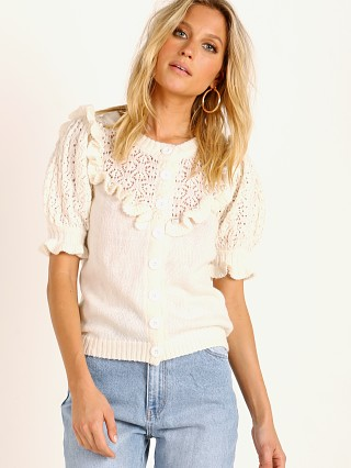 For Love & Lemons Pearl Button Up Sweater Ivory