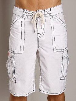 True Religion Payload Board Shorts White