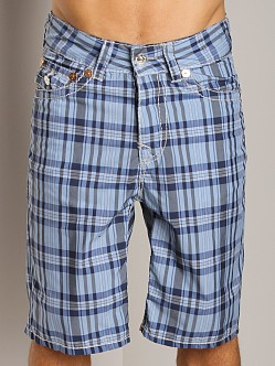 True Religion Plaid Board Shorts Royal