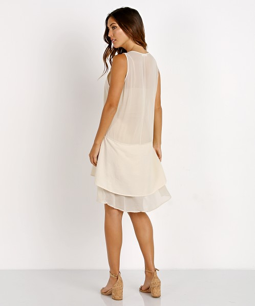 LACAUSA Contrast Dress Sand Stone