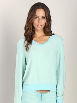 WILDFOX V Neck Baggy Beach Jumper Aqua Sky