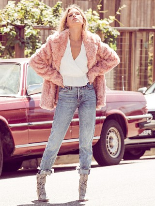 Complete the look: Show Me Your Mumu Park Ave Jacket Mauve Faux Fur