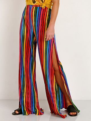 Model in rainbow parade Show Me Your Mumu Campbell High Slit Pants
