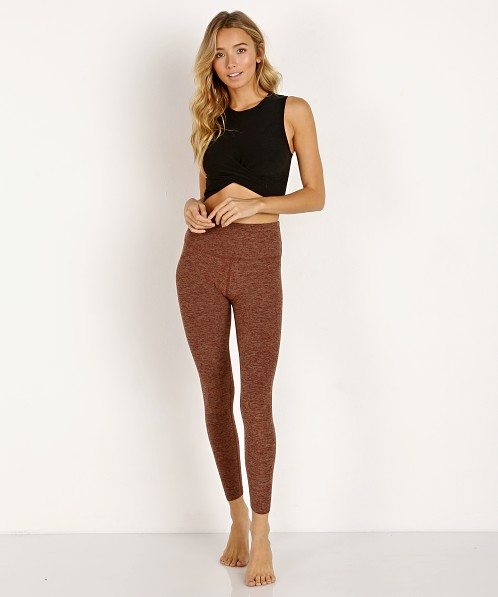 Beyond Yoga Across The Straps High Waisted Midi Legging Red Rock