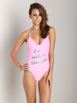 WILDFOX I'm Really a Mermaid Classic One Piece Baby Pink