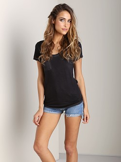 Cotton Citizen Scoop Neck Pocket Tee Black
