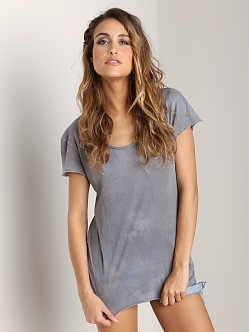 Cotton Citizen Raw Edge Scoop Tee Steel