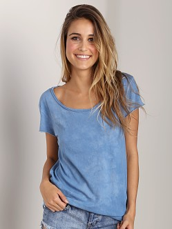 Cotton Citizen Raw Edge Scoop Tee Blue