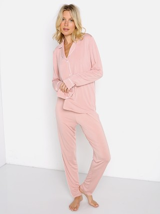Model in misty rose Eberjey Gisele Slim Tuxedo Pj Set