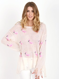 WILDFOX Miami Suburb Lenon Sweater Vintage Lace