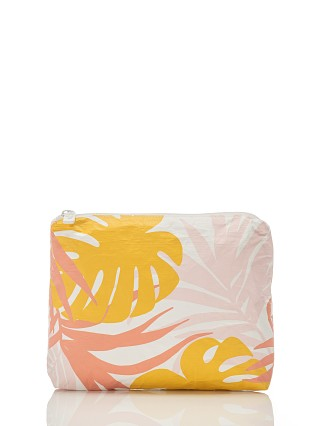 Model in starburst Aloha Small Tropics Zipper Bag