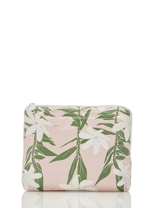 Model in blush Aloha Tiare Ti Small Zipper Bag
