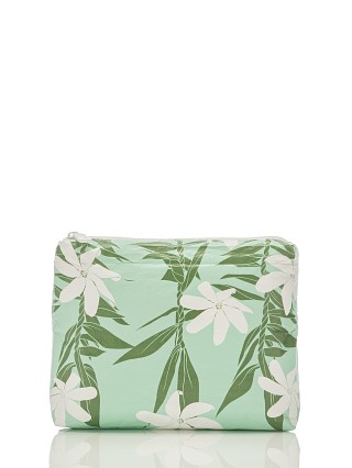 Model in seafoam Aloha Tiare Ti Small Zipper Bag