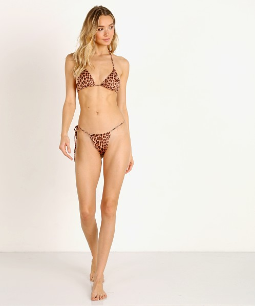Monica Hansen Beachwear That 90's Vibe Tri Bikini Top Leopard