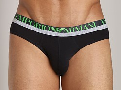 Emporio Armani Melange Insert Stretch Cotton Brief Black