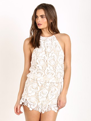 Model in feather Winston White Delano Romper