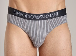 Emporio Armani Printed Fantasy Stretch Cotton Brief Steel