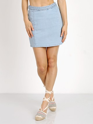 MinkPink Double Dutch Braided Denim Skirt Light Blue