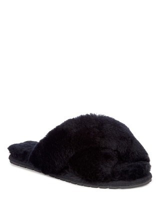 Model in black EMU Australia Mayberry Slipper