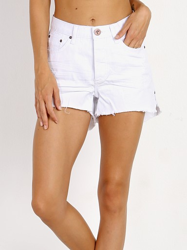 One Teaspoon White Beauty High Waist Bonita Denim Short
