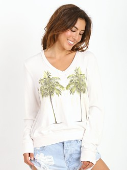 WILDFOX Twin Palms V Neck Baggy Beach Jumper Vintage Lace