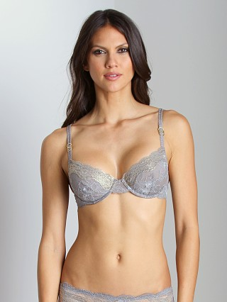 Model in grey/gold Stella McCartney Katherine Shining Underwire Bra