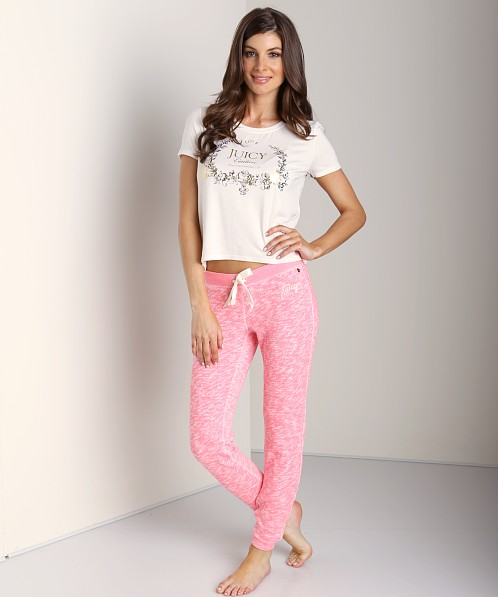 Juicy Couture Marled French Terry Fitted Pant Marled Geranium